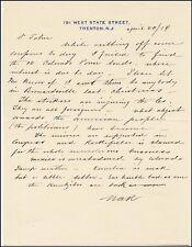 Washington A. Roebling - Autograph Letter Signed 04/30/1914