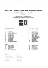 Teamsheet - Manchester City Youth v Newcastle United Youth 2008/9 (4 Feb) FAYC