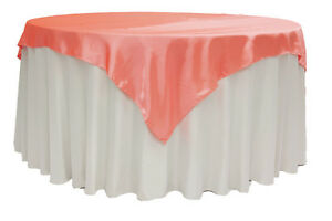 """20 Satin Overlays 60"""" X 60"""" Square Tablecloths Wholesale Seamless 30 Colors"""