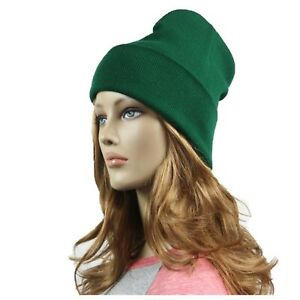 Men Women Plain Beanie Cap Knit Cuff Ski Winter Sports Outdoor Hiking Biker Hat