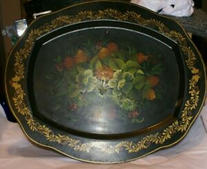 Vintage Hand Painted Fruit Nashco Toleware Style  Serving Tray Large Metal 19X16
