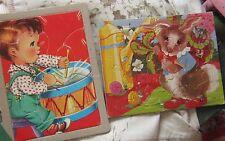 Vintage ROUGH condition drummer boy & garden bunny rabbit children's puzzle pair