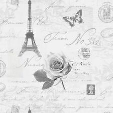 Silver Grey Quotes Wallpaper Paris Postcards Travel Eiffel Tower Luxury Feature