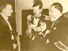 Bucarest, Yvon Delbos, le roi Carol et M.Tiery Vintage silver print Tirage arg