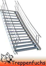 15 Stufen Stahltreppe beidseitigem Geländer Breite 80 cm Geschosshöhe 250-320cm