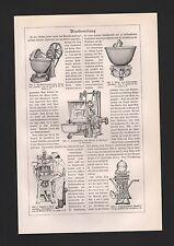 LIthografie 1925: Brotbereitung. Teigteil-Wirk-Knet-Maschine Bäckerei