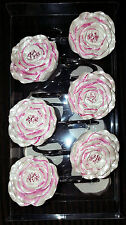NEW PINK ROSE FLOWER 12 SHOWER CURTAIN HOOKS SET BATH FLORAL DECOR SECRET GARDEN