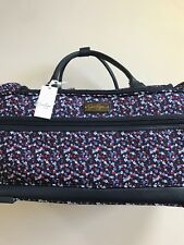 """Jessica Simpson Rolling Carry On Weekender Duffel Bag 22"""" Blue White Floral New"""