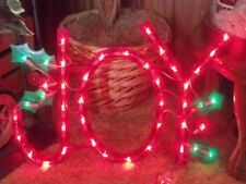 CHRISTMAS OUTDOOR LIGHTED JOY SIGN WINDOW YARD LIGHTS LIGHT SCULPTURE DECORATION