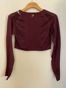 NWOT Gymshark Energy Seamless Long Sleeve Crop Top Size Large Ruby Red