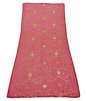 Embroidered Indian Chunari Vintage Pink Dupatta Georgette Shawl Stole EMBDP922