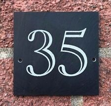 Rustic Slate House Gate Sign Plaque Door Number Plate Square