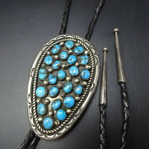 Vintage NAVAJO Hand Stamped Sterling Silver BLUE MORENCI TURQUOISE Cluster BOLO