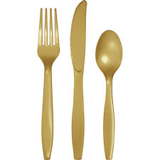 24 Assorted Glitter Gold Wedding Birthday Party Tableware Plastic Cutlery Set