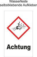 Hinweiß GHS Achtung Explosiv Aufkleber Warnaufkleber Gefahr ab 1,5-20cm GHS01