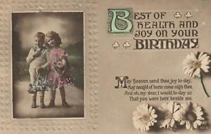 VINTAGE Best of Health and Joy on Your Birthday LOVELY CHILDREN POSTCARD Cobbity
