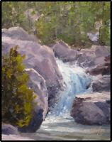 Jeff Love Original Oil Painting Mountain Waterfall River Landscape Impressionism