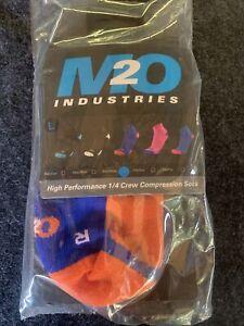 M2O 1/4 CREW COMPRESSION SOCKS BIKE BICYCLE MUSCLE MTB ROAD BLUE ORANGE X LARGE