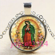 Our Lady of Guadalupe Cabochon silver Glass Chain Pendant Necklace #3331