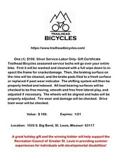 New listing Trailhead Bicycles Gift Card for Labor component of Silver Service worth $100