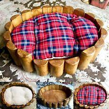 """Superb Quality Antique Heavy (5kg) Hardwood 22""""/57cm Dog / Cat Bed & Mattress"""