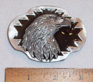 SOLID PEWTER SISKIYOU BELT BUCKLE - DIAMOND CUT EAGLE HEAD W/BLACK ENAMEL