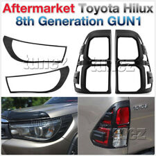 Front Tail Rear Light Lamp Cover For Toyota Hilux 2016 2017 2018 Black Eyelid AT