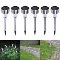 6x Stainless Steel Solar Powered Garden LED Light Pathway Landscape Lamp White