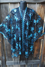 ART TO WEAR GLAM SEQUIN EMBROIDERED SHORT KIMONO JACKET TURQUOISE ON BLACK, OS!