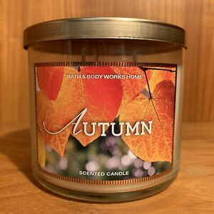 Bath & Body Works Home RARE Original AUTUMN Scent 3-Wick Jar Candle 14.5 oz Fall