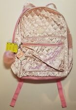 """Wonder Nation Size 16"""" Pink Velvet Quilted Front Glitter Cat Ears Backpack Nwt"""
