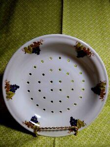 APILCO Porcelaine France Pierced Berry Bowl Purple Grapes Design NO UNDERPLATE
