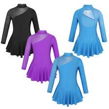 Girls Long Sleeves Ice Skating Dress Cutouts Back Figure Ballet Dance Leotards
