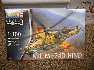 MIL MI-24D HIND 1:100 Scale Model Kit Revel Helicopter war plane desert camo MIB