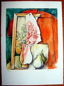 SAMUEL BAK Original HAND SIGNED Art LITHOGRAPH Surrealist HEBREW Jewish JUDAICA