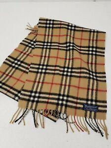 "Burberrys of London 100% Lambswool Nova Check Plaid Scarf 60x12"" Beige Brown"
