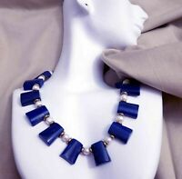 "Vintage Art Deco Egyptian Style Lapis Lazuli Cultured Pearls Necklace 15"" - 18"""