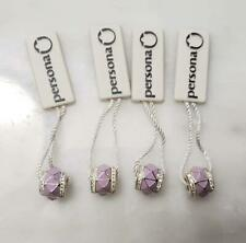 Dealer's Lot of 4 Sterling Silver/ Purple W/ Rhinestones PERSONA Charms~ 10-E479