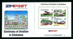 2020 ZIMBABWE - CENTENARY of AVIATION - FIRST DAY COVER Minisheet Imperf