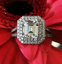 Engagement Ring in 14K White Gold 3.65Ct White Emerald Cut Diamond Double Halo