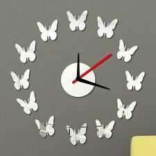 Plata Mariposa Bricolaje Autoadhesivo Interior Pared creativo decoración Reloj