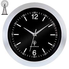 Wanduhr Funkuhr Funkwanduhr Uhr Analog Zeitumstellung Automatisch lautlos silber