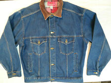 Marlboro Country Store Denim Jean Trucker Jacket Leather Collar Mens Size L