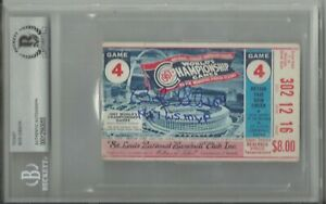 Bob Gibson Autographed 1967 Game 4 World Series Ticket w/ MVP - BAS Slabbed !!