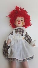 """Porcelain Raggedy Ann - Type American Doll Cloth Body 14"""" Tall Handpainted Face"""