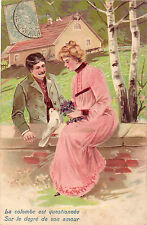 CPA-illustrator-couple-message of love-embossed.