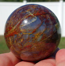 Rare Colorful PIETERSITE Crystal Sphere Blue & Red Petersite Ball Tempest Stone