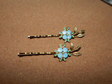 HAIR CLIP BOBBY PIN ANTHROPOLOGIE GOLD RHINESTONE BEAD SET of  2 EASY ON NEW $38