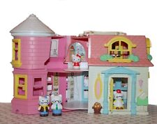 Sanrio Blue Box Hello Kitty Victorian Mansion Carry Along Doll House + 5 Figures