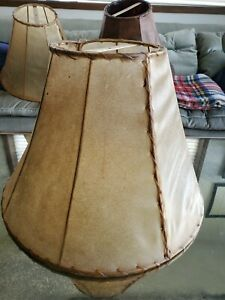 Southwestern Large Rawhide Lamp Shade Lodge Mexico 14H x 20 Bell Leather Laced